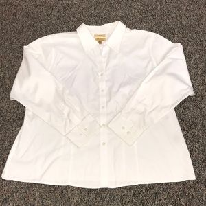 No-Iron Women's White Button Up Shirt